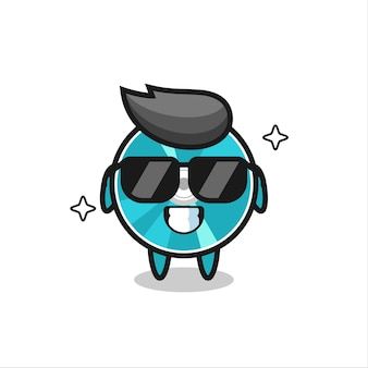 Cartoon mascot of optical disc with cool gesture , cute style design for t shirt, sticker, logo element