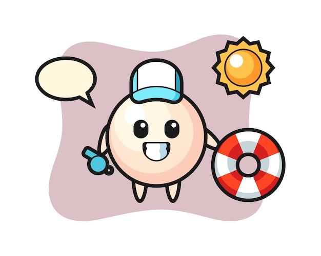 Cartoon mascot of pearl as a beach guard