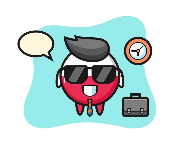 Cartoon mascot of poland flag badge as a businessman