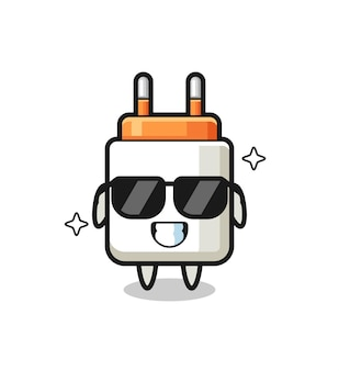 Cartoon mascot of power adapter with cool gesture , cute design