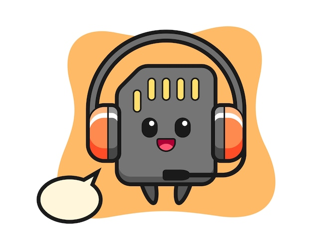 Cartoon mascot of sd card as a customer service, cute style design for t shirt