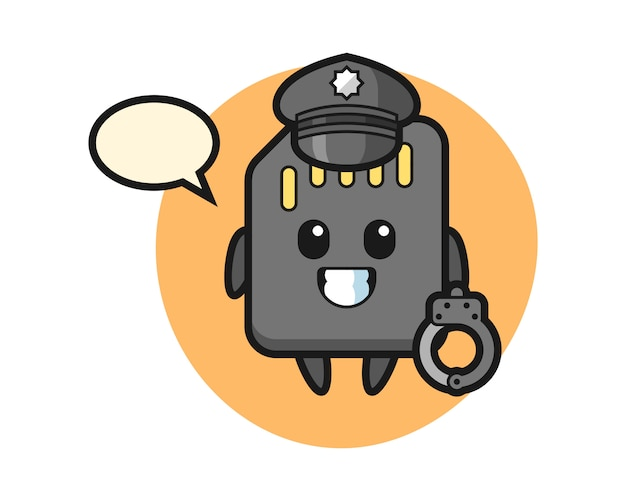 Cartoon mascot of sd card as a police, cute style design for t shirt