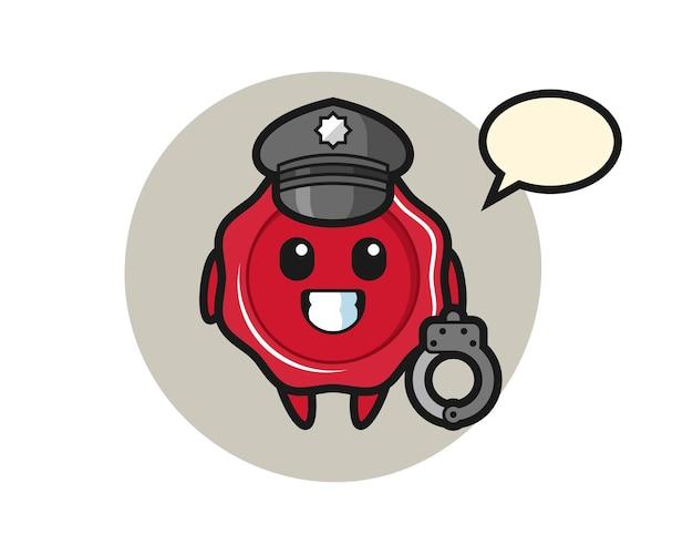 Cartoon mascot of sealing wax as a police