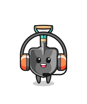 Cartoon mascot of shovel as a customer service , cute design