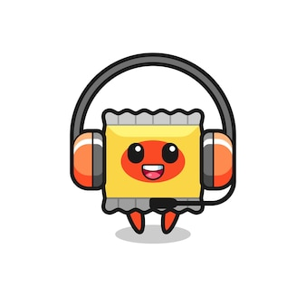 Cartoon mascot of snack as a customer service , cute style design for t shirt, sticker, logo element