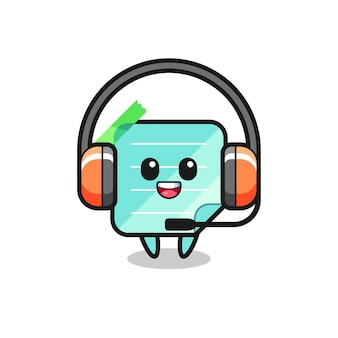 Cartoon mascot of sticky notes as a customer service , cute style design for t shirt, sticker, logo element