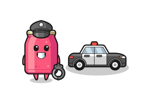 Cartoon mascot of strawberry jam as a police , cute design