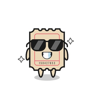 Cartoon mascot of ticket with cool gesture , cute style design for t shirt, sticker, logo element