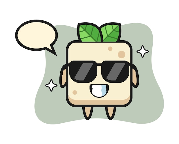 Cartoon mascot of tofu with cool gesture, cute style design for t shirt