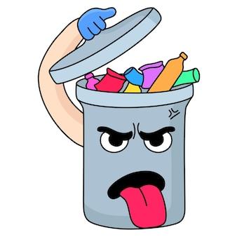 Мультяшный талисман для мусора злится из-за кучи мусора