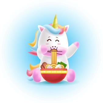Cartoon mascot unicorn eating ramen
