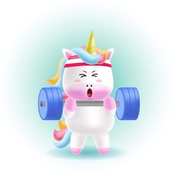 Cartoon mascot unicorn lifting heavy barbell
