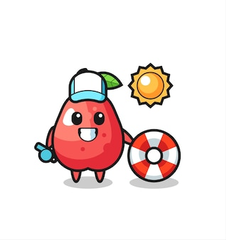 Cartoon mascot of water apple as a beach guard , cute style design for t shirt, sticker, logo element