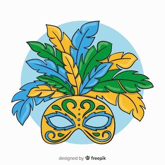 Cartoon mask brazilian carnival background