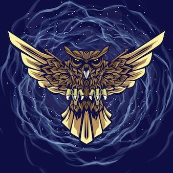 Cartoon maskot owl illustration with space background