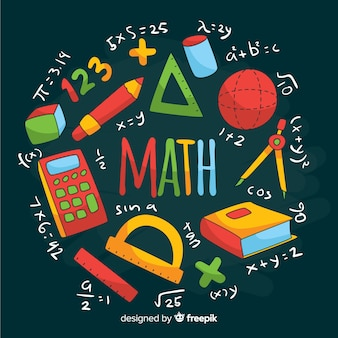 Cartoon math chalkboard background