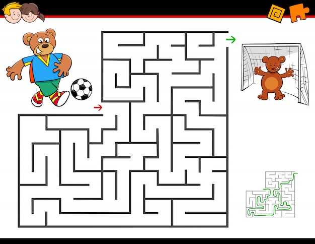 Cartoon maze activity with bear playing soccer