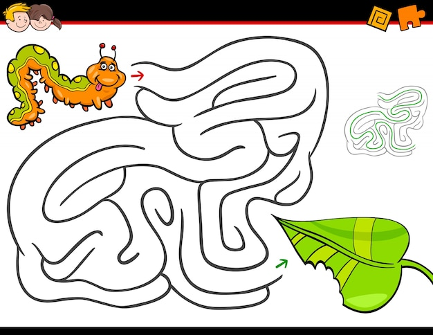 Cartoon maze activity with caterpillar and leaf
