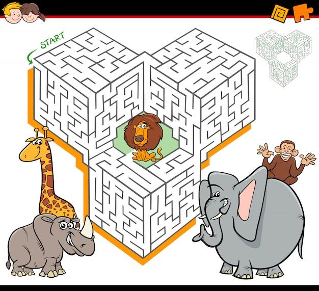 Cartoon maze activity with safari animal characters