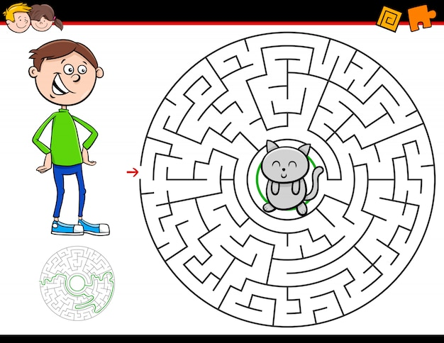 Cartoon maze game with boy and kitten