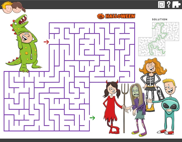 Cartoon maze puzzle game with children at the halloween party