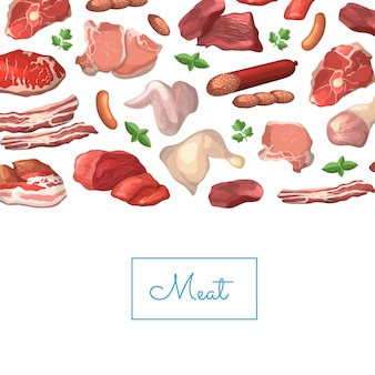 Cartoon meat pieces background illustration with place for text