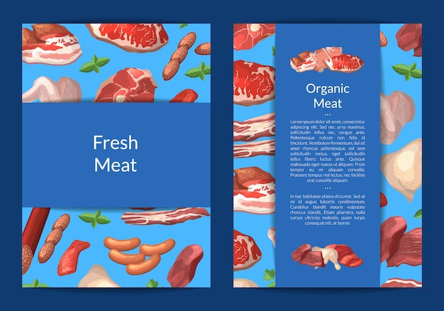 만화 고기 조각 카드, 정육점 또는 고기 회사 일러스트 전단지 템플릿