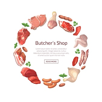 Cartoon meat pieces in circle form with place for text in center round illustration