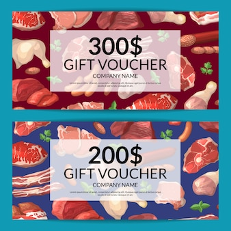 Cartoon meat pieces discount or gift card voucher templates illustration of set