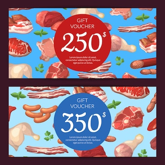 Cartoon meat pieces discount or gift card voucher templates illustration