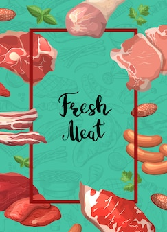 Cartoon meat pieces frame with flying around it with place for text in center illustration