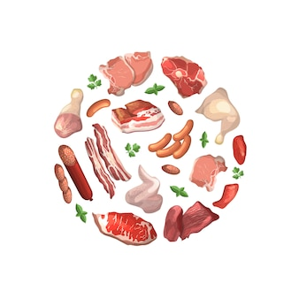 Cartoon meat pieces gathered in circle illustration isolated on white