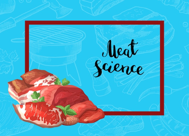 Cartoon meat pieces rectangle frame with pile of in the corner with place for text background illustration