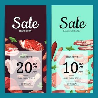 Cartoon meat pieces vertical sale web banners of set illustration