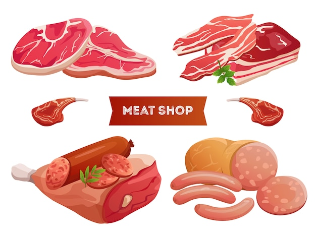 Cartoon meat products and fresh meat on white background
