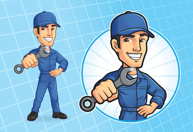 Cartoon mechanic character