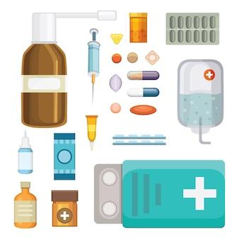 漫画の薬。さまざまな医療用ピルとボトル、ヘルスケアとショッピング、薬局、ドラッグストア。フラットスタイルのイラスト