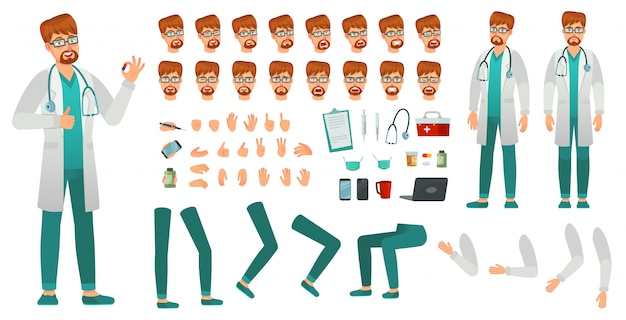 Cartoon medicine doctor creation kit. medical man, healthcare medic and male doctor character constructor vector set