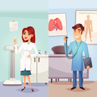 Cartoon medicine vertical banners