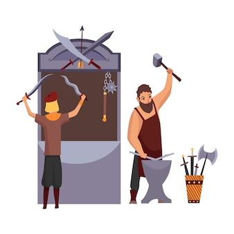 Мультяшная средневековая ярмарка. средневековье или ярмарка сказок с персонажами в костюмах. продавайте различные боевые товары