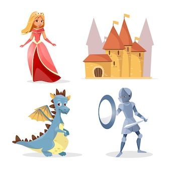 Cartoon medieval fairy tale characters, creatures castle set.