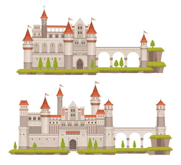 타워, 게이트 및 플래그 만화 중세 동화 돌 성. 고대 궁전, 벡터 판타지 요새 또는 높은 벽, 도개교, 테라스 및 석탑이 있는 왕의 거주지
