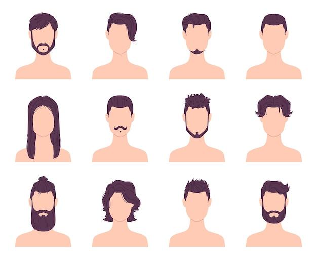 만화 남자 아바타 패션 헤어스타일, 콧수염 및 수염. 남성 현대식 짧고 긴 이발. 이발소 머리 스타일 아이콘 벡터 세트