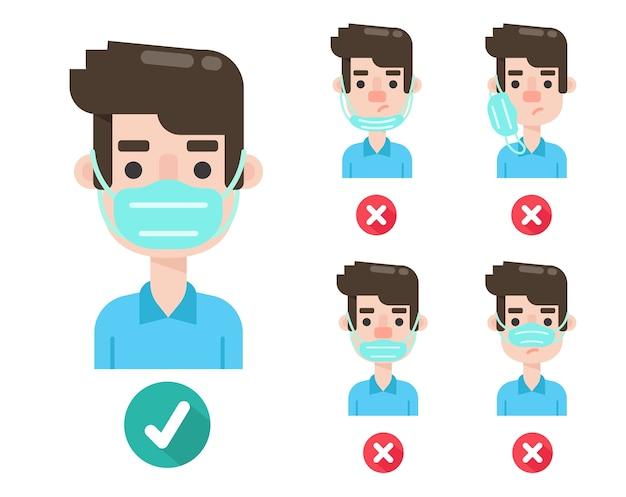 만화 남자는 잘못된 유형과 코로나 바이러스를 예방하는 올바른 방법 모두 다른 유형의 마스킹을 보여줍니다.