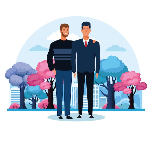 Cartoon men standing over colorful trees
