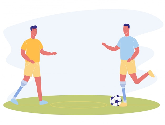 Cartoon men with prosthetic leg play football