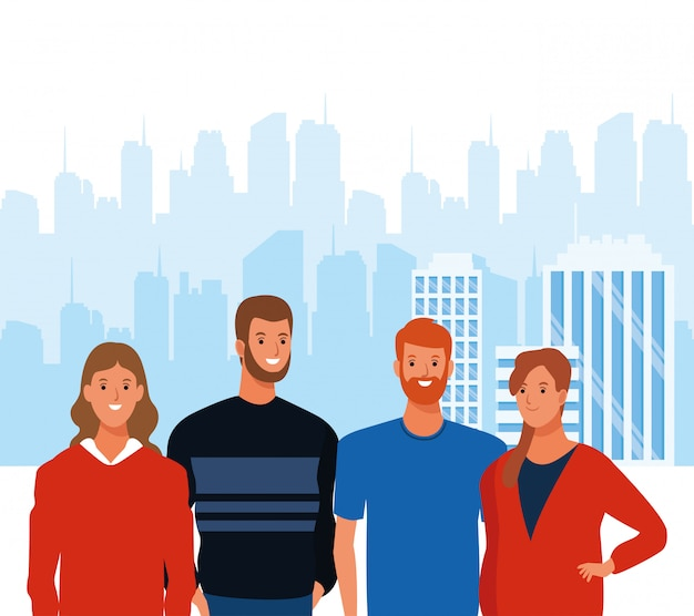 Cartoon men and women smiling over urban city landscape background