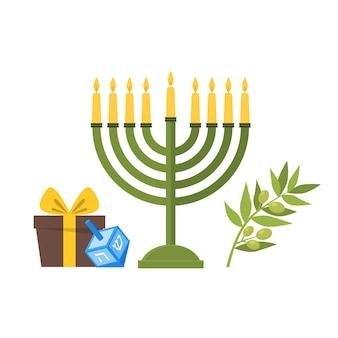 ユダヤ教の伝統文化、お祝いの休日フラットデザインスタイルの漫画メノラーシンボル。ベクトルイラスト