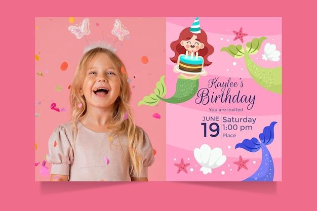 Шаблон приглашения на день рождения мультяшной русалки