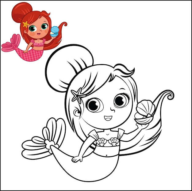 Cartoon mermaid character for coloring page activity vector illustration